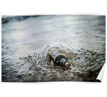 Message in a bottle - a bottle half buried in sand on a beach  Poster
