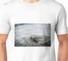 Message in a bottle - a bottle half buried in sand on a beach  Unisex T-Shirt