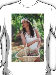 Young Teen girl in white dress picks grape in a vineyard  T-Shirt