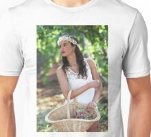 Young Teen girl in white dress picks grape in a vineyard  Unisex T-Shirt