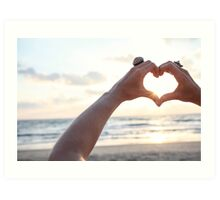 Hand gesture forming a heart shape for Love Art Print