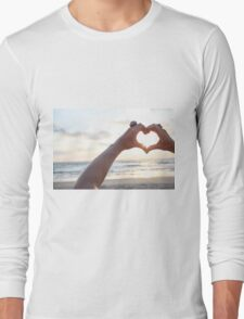 Hand gesture forming a heart shape for Love Long Sleeve T-Shirt