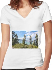 Mount Tallac trailhead overlooking lake Tahoe, California, USA Women's Fitted V-Neck T-Shirt