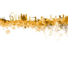 London skyline in orange watercolor on white background by paulrommer