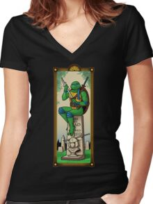 The Haunted Sewer: Here Lies Shred Women's Fitted V-Neck T-Shirt