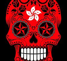 Sugar Skull with Roses and Flag of Hong Kong by Jeff Bartels
