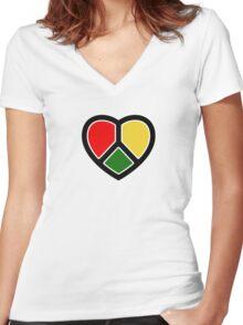 Rasta heart!  Women's Fitted V-Neck T-Shirt