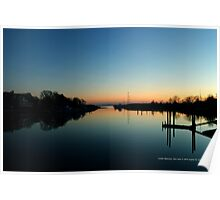 Evening View On Areskonk Creek From Sedgemere Road Bridge | Center Moriches, New York  Poster