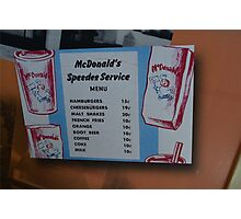McDonalds Menu  Photographic Print