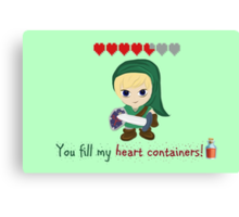 Zelda Valentines: You Fill my Heart Containers Canvas Print