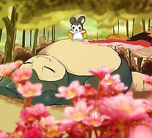 Sleeping Snorlax And Excitable Emolga - Rotated by darkesknight