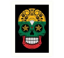 Sugar Skull with Roses and Flag of Lithuania Art Print