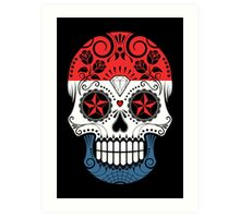 Sugar Skull with Roses and Flag of Netherlands Art Print