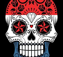 Sugar Skull with Roses and Flag of Netherlands by Jeff Bartels