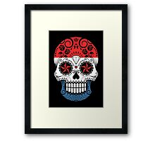 Sugar Skull with Roses and Flag of Netherlands Framed Print