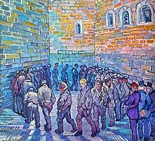 'Prisoners Walking The Round' by Vincent Van Gogh (Reproduction) by Roz Abellera Art Gallery