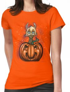 Pumpkin Cat  Womens Fitted T-Shirt
