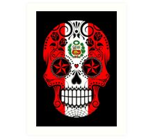 Sugar Skull with Roses and Flag of Peru Art Print