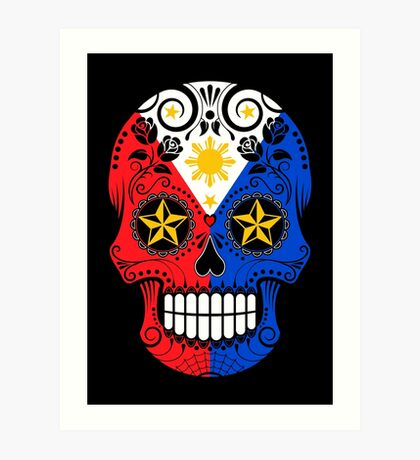 Sugar Skull with Roses and Flag of The Philippines Art Print