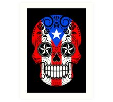 Sugar Skull with Roses and Flag of Puerto Rico Art Print