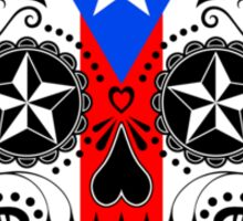 Sugar Skull with Roses and Flag of Puerto Rico Sticker