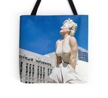 Statue of Marilyn Monroe next to the Chicago Tribune building. Chicago, Illinois, USA Tote Bag