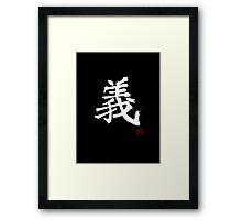 Kanji - Righteousness in white Framed Print