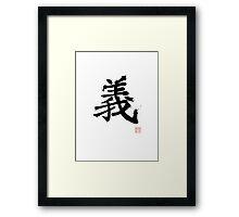 Kanji - Righteousness Framed Print