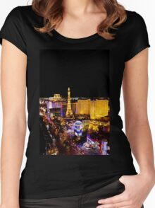 The Strip, at night Las Vegas, Nevada, USA Women's Fitted Scoop T-Shirt
