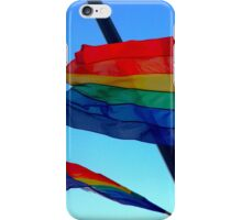 Gay Flag on blue sky background iPhone Case/Skin