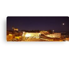 Panoramic night view of the Wailing Wall, Jerusalem.  Canvas Print