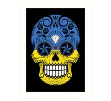 Sugar Skull with Roses and Flag of Ukraine Art Print