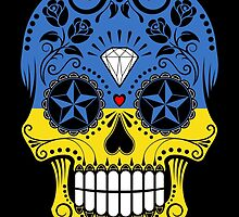 Sugar Skull with Roses and Flag of Ukraine by Jeff Bartels