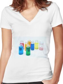 Glass bottles with coloured liquid at a Cosmetics manufacturer Women's Fitted V-Neck T-Shirt