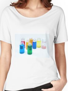 Glass bottles with coloured liquid at a Cosmetics manufacturer Women's Relaxed Fit T-Shirt