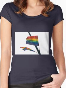 Gay Flag on white background Women's Fitted Scoop T-Shirt