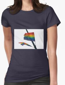 Gay Flag on white background Womens Fitted T-Shirt