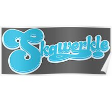 Skqwerkle Logo in Light Blue and Grey Poster