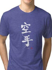 Kanji - Karate in white Tri-blend T-Shirt