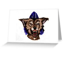 Psychobilly Werewolf Color digital painting Greeting Card