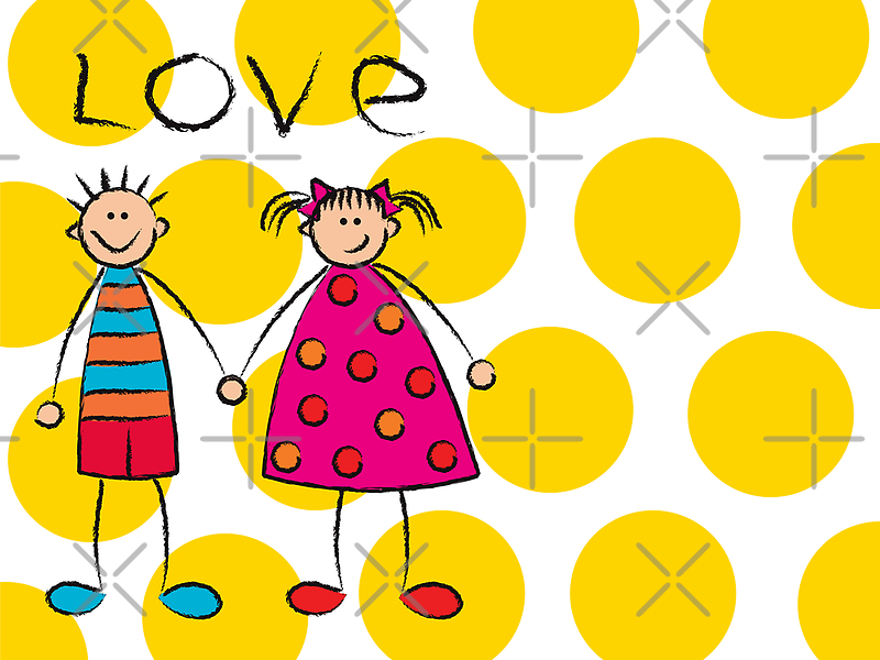 Boy + Girl = Love on Yellow Dots by fatfatin
