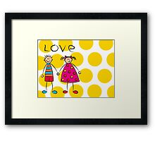 Boy + Girl = Love on Yellow Dots Framed Print