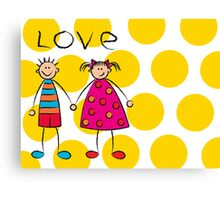 Boy + Girl = Love on Yellow Dots Canvas Print