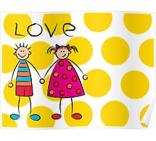 Boy + Girl = Love on Yellow Dots Poster