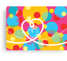 Color Pop Dots and Loopy Hearts  Canvas Print