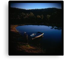 Holga madness.... little boat and reflection in daniland Canvas Print
