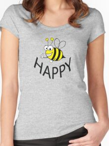 BEE HAPPY Women's Fitted Scoop T-Shirt