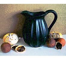 Black Pitcher with Old Fruit Photographic Print