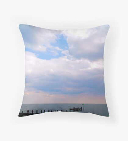 Speed Boat Jetty at Southend Throw Pillow