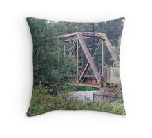 """Great Northern and Santa Fe Railroad Trestle"" Throw Pillow"